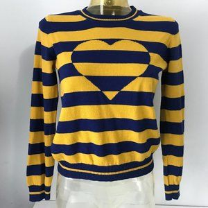 LOVE MOSCHINO Women Wool Sweater Heart Stripe XS/S